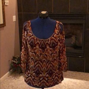 Woman's Patterned Open Shoulder Blouse